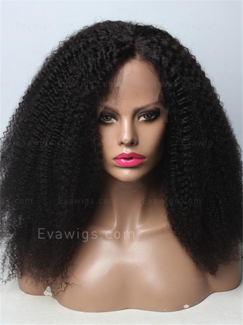 "22"" Natural COILY Pre-plucked Hairline Virgin Human Hair"