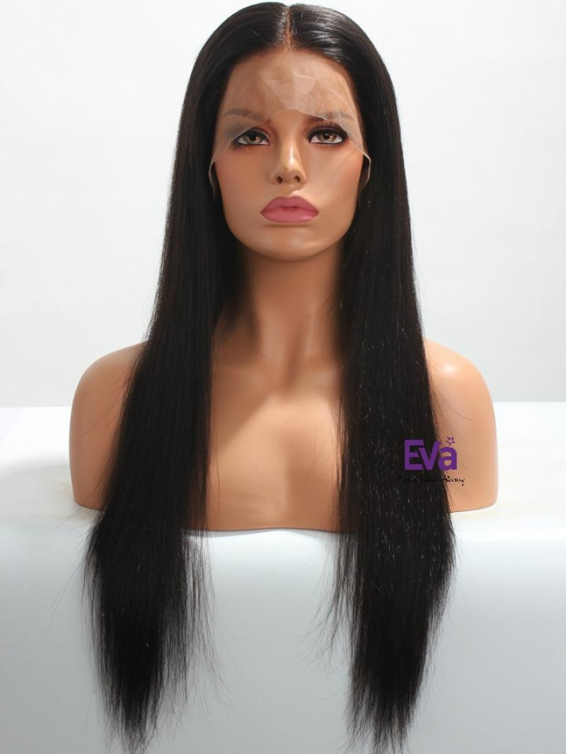 "Stock 3"" Parting Long Straight 100% Indian Remy Human Hair Silky Straight Lace Front Wig"