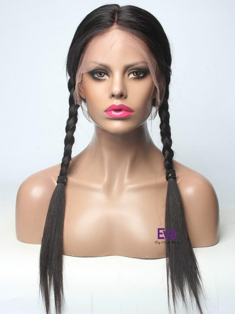 "20"" 180% OFF BLACK SILKY STRAIGHT FULL LACE CAP PETITE SIZE WIG WITH FAKE SCALP"