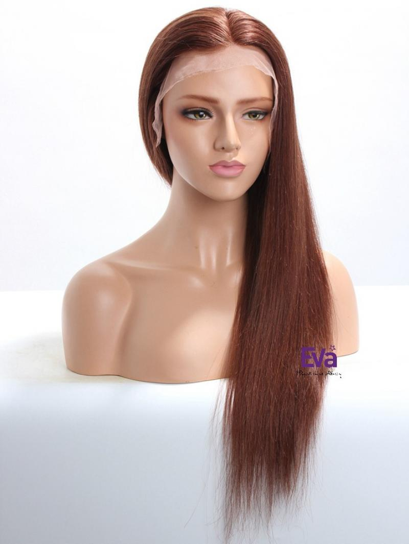 "16"" - 26"" Available #33 - Dark Auburn Long Straight Human Hair Wig More Colors Available"