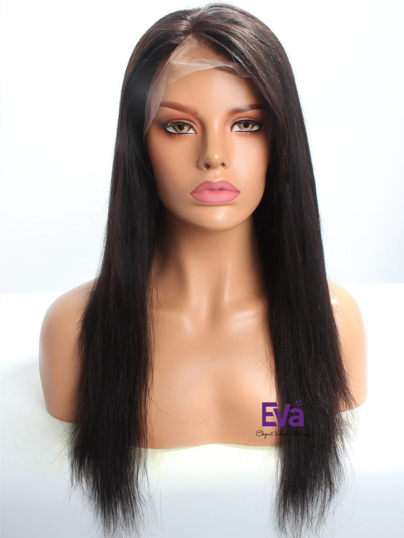 "18"" 150% Density Silky Straight Indian Remy Hair Lace Front Wig"