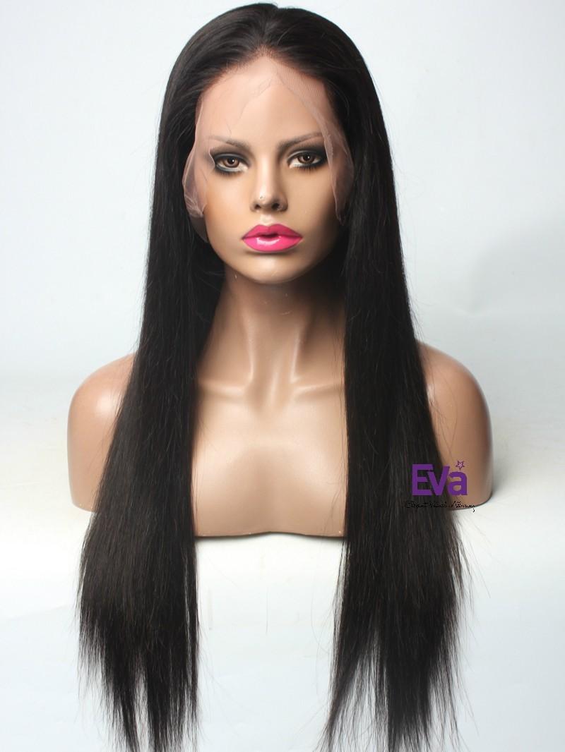 "20"" 150% Natural Black Silky Straight Human Hair Full Lace Wig"