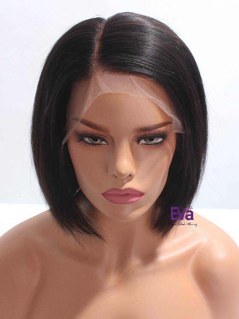 "10"" 130% OFF BLACK SILKY STRAIGHT HD FULL LACE WIG WITH 5*5 SILK TOP IN CUSTOMIZED SIZE"