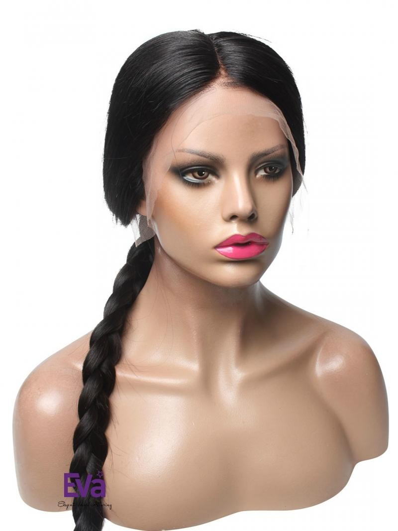 """18"""" JET BLACK 150% DENSITY SILKY STRAIGHT FULL LACE WIG WITH 5*5 SILK TOP IN PETITE SIZE"""