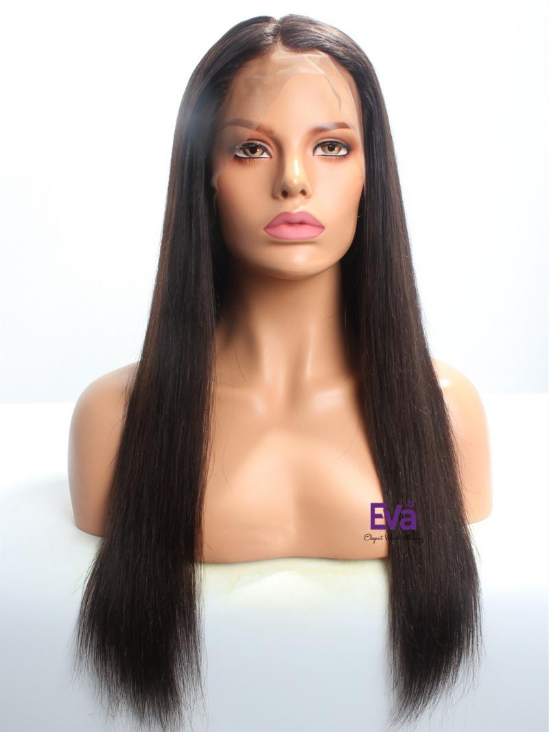 "20"" Darkest Brown Stocked Silk Straight Lace Front Human Hair Wig"