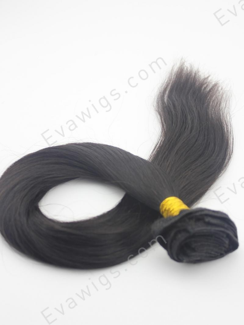 "14"" MEDIUM GOLDEN BROWN SILKY STRAIGHT HUMAN HAIR CLIP IN HAIR EXTENSION"