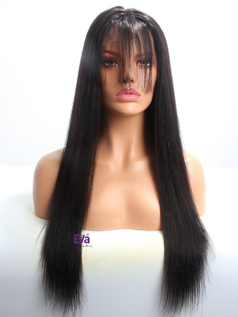 "20"" Silky Straight Lace Front Wig With See-through Bangs"