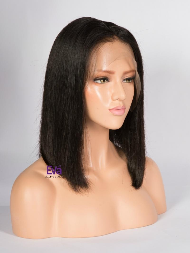 "14"" NATURAL BLACK 150% DENSITY 4"" PARTING LACE FRONT WIG"