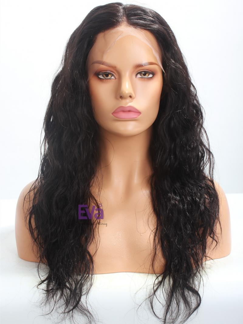 "20"" Black Body Wave & Plucked Hairline Full Lace Wig"