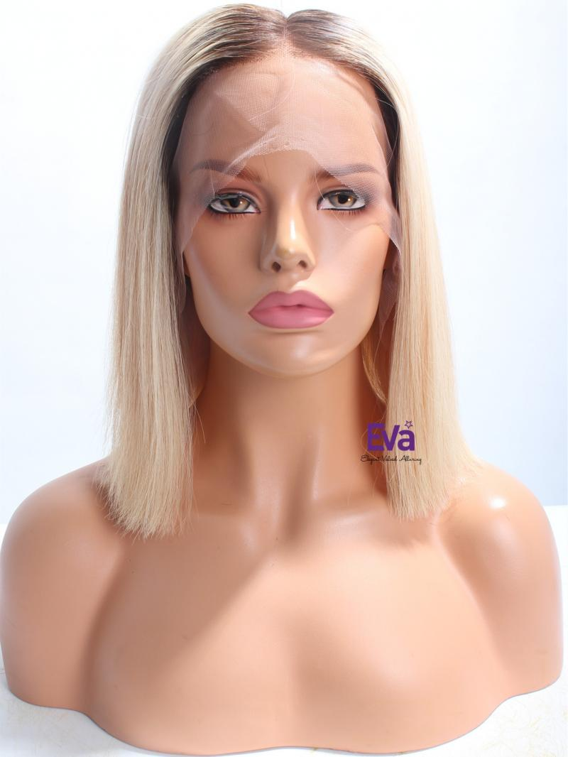 "14"" #3 T #613 Blonde Bob Cut 4"" Deep Parting  Lace Front Wig"