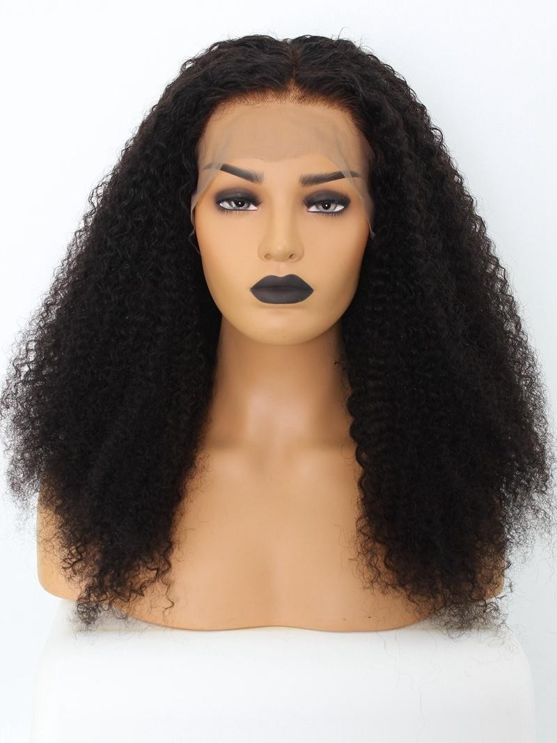 "16""-24"" KINKY CURLY LACE FRONT WIG WITH BLEACHED KNOTS AND PRE-PLUCKED HAIRLINE"