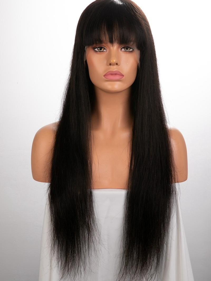 "22"" 150% Natural Black Silky Straight Human Hair 4"" Lace Front Wig"