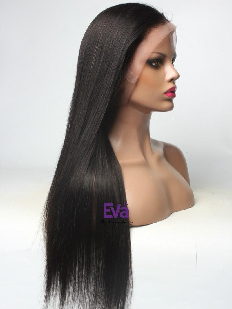"22"" 150% DARKEST BROWN SILKY STRAIGHT FULL LACE WIG WITH FAKE SCALP"