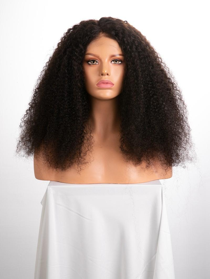 "22"" 180% Darkest Brown Kinky Curly Human Hair HD Full Lace Wig With Large Size"