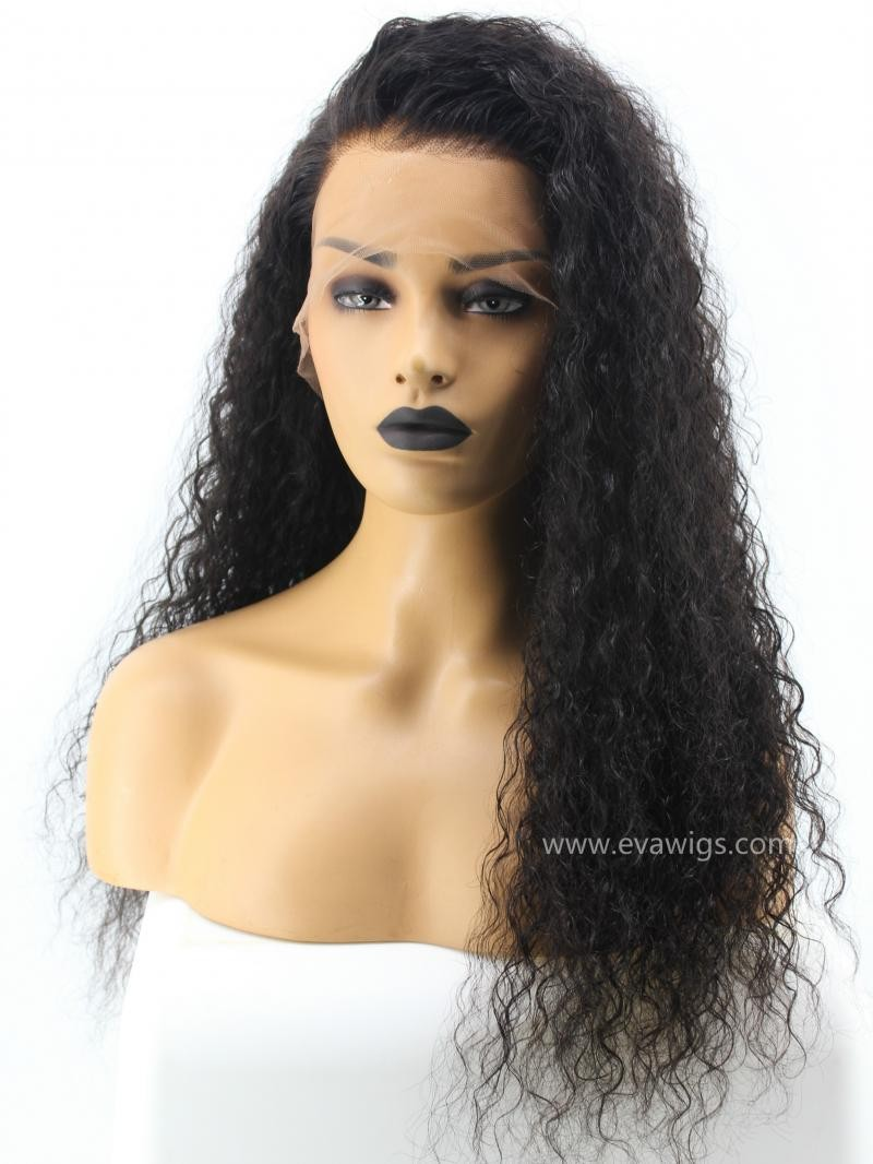 """22"""" 150% Natural Black Deep Curly HD Lace Human Hair Full Lace Wig"""