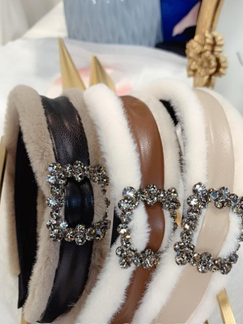 Diamond leather plush headband