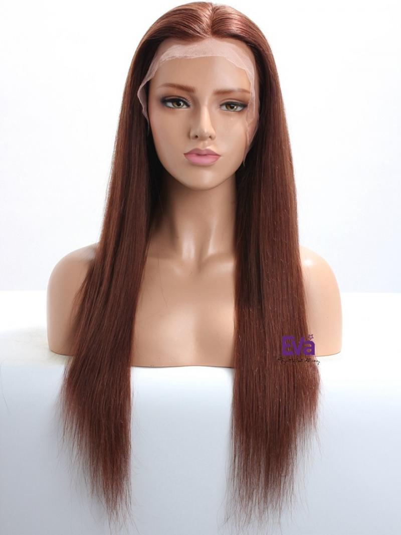 """16"""" - 26"""" Available #33 - Dark Auburn Long Straight Human Hair Wig More Colors Available"""
