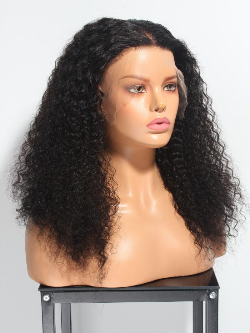 "NEW IN CUSTOMIZE 18""-24"" INVISIBLE HD LACE SWISS LACE NATURAL BLACK CURLY 360 LACE WIG"