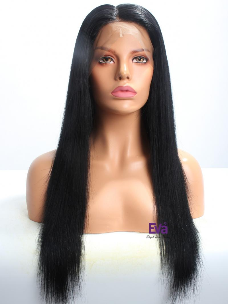 "Ready To Ship Natural Black 20"" 180% Density Silky Straight Full Lace Wig"