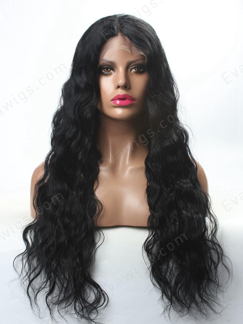 "22"" HD MEDIUM DARK BROWN WAVY FULL LACE LARGE SIZE WIG"