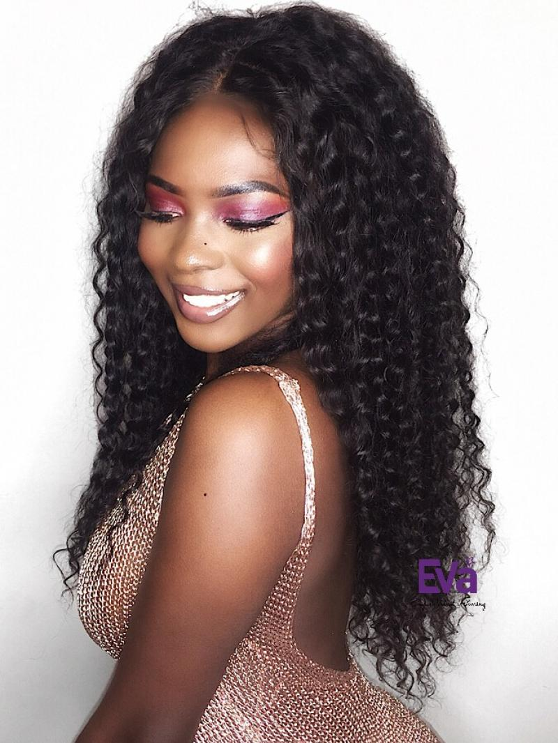 "Curly 360 Lace Wig with 4 inches Free Parting 18""-22"" Available and Can Worn in a High Ponytail"