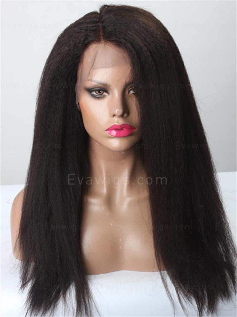 "Petite Cap 18"" Kinky Straight Virgin Hair 4.5"" Lace Front Wig"