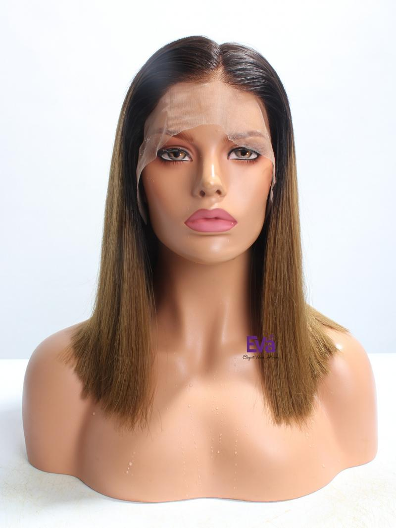 "16"" Ombre Color Straight Bob Cut 4"" Parting Lace Front Wig"