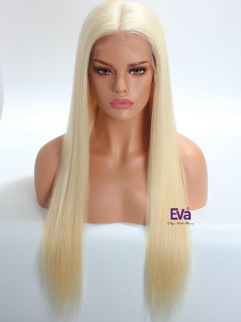 "26"" 130% SILKY STRAIGHT 613 BLONDE FULL LACE WIG WITH 4*5 SILK TOP IN CUSTOMIZED SIZE"