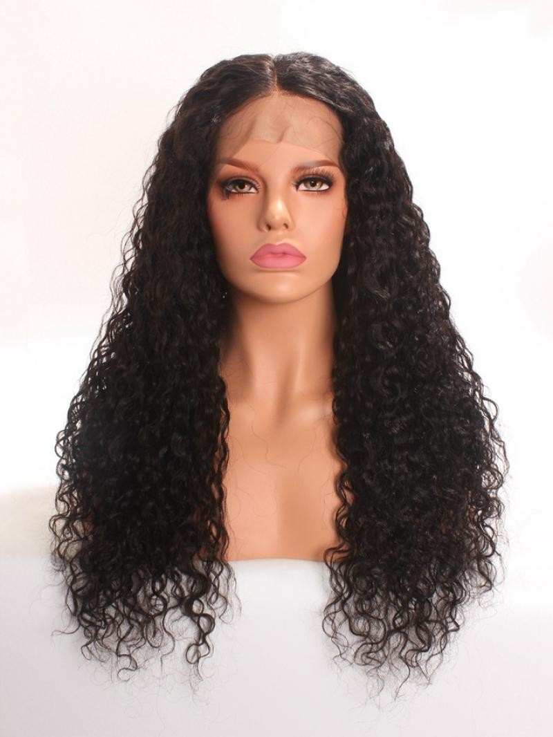 "22"" 150% Natural Black Deep Curly Human Hair 4"" Lace Front Wig"