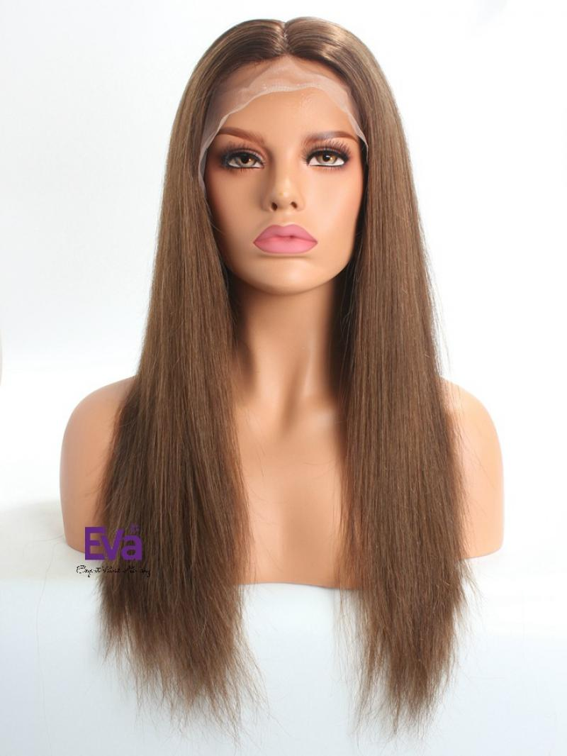 Brown Virgin Human Hair 4*4 Silk Top Full Lace Wig