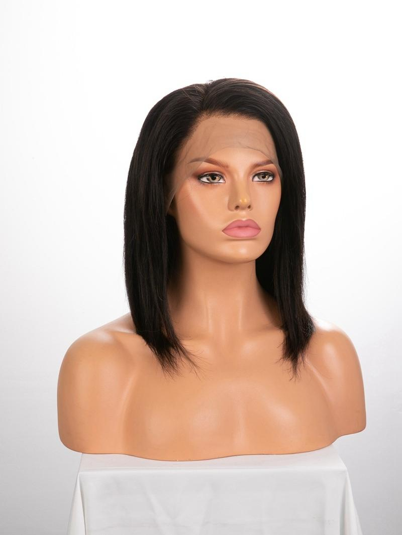 "12"" 150% Natural Black Yaki Straight Human Hair 4"" Lace Front Wig"