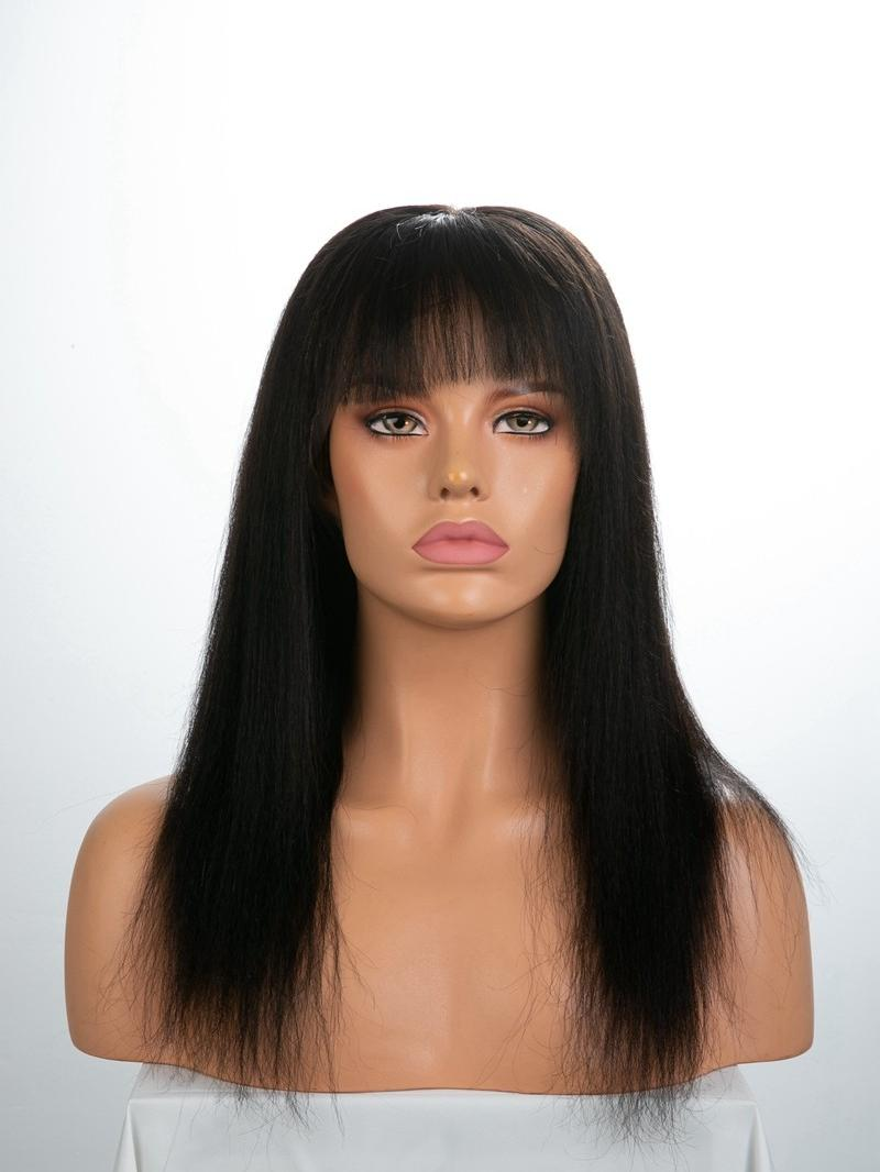 """16"""" 130% Natural Black Silky Straight Human Hair Full Lace Wig With Fake Scalp"""