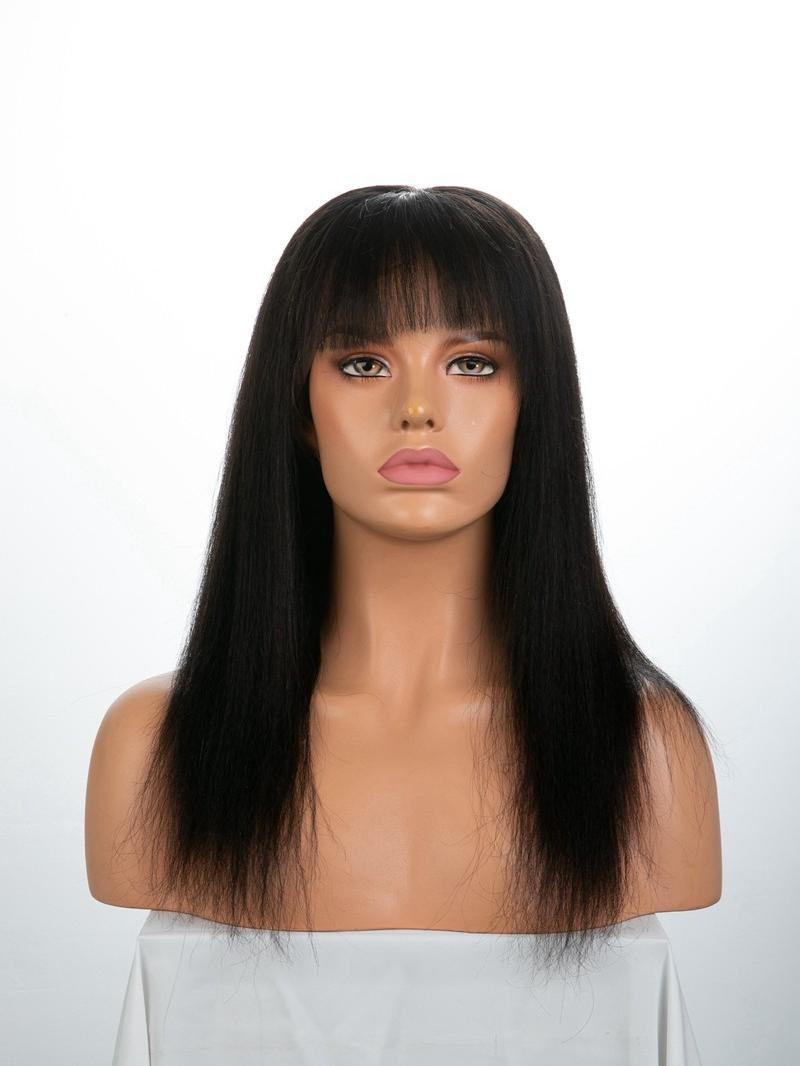 "14"" 130% Off Black Yaki Straight Human Hair Full Lace Wig With Petite Size"