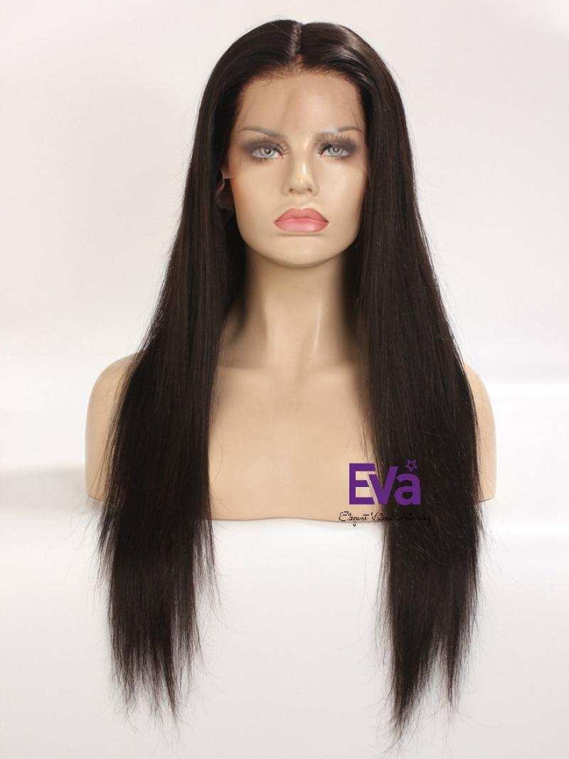 "18""-22"" Long Ready to Ship 4"" Deep Parting Natural Black Lace Front Human Hair Wig"